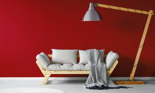 Valiant poppy wall white couch