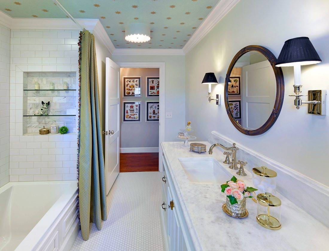 Wallpaper ceiling bathroom designed by Rock Solid Renovations.