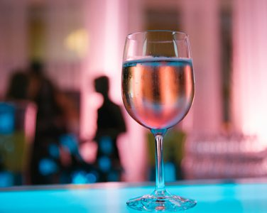 Glowing wine glass