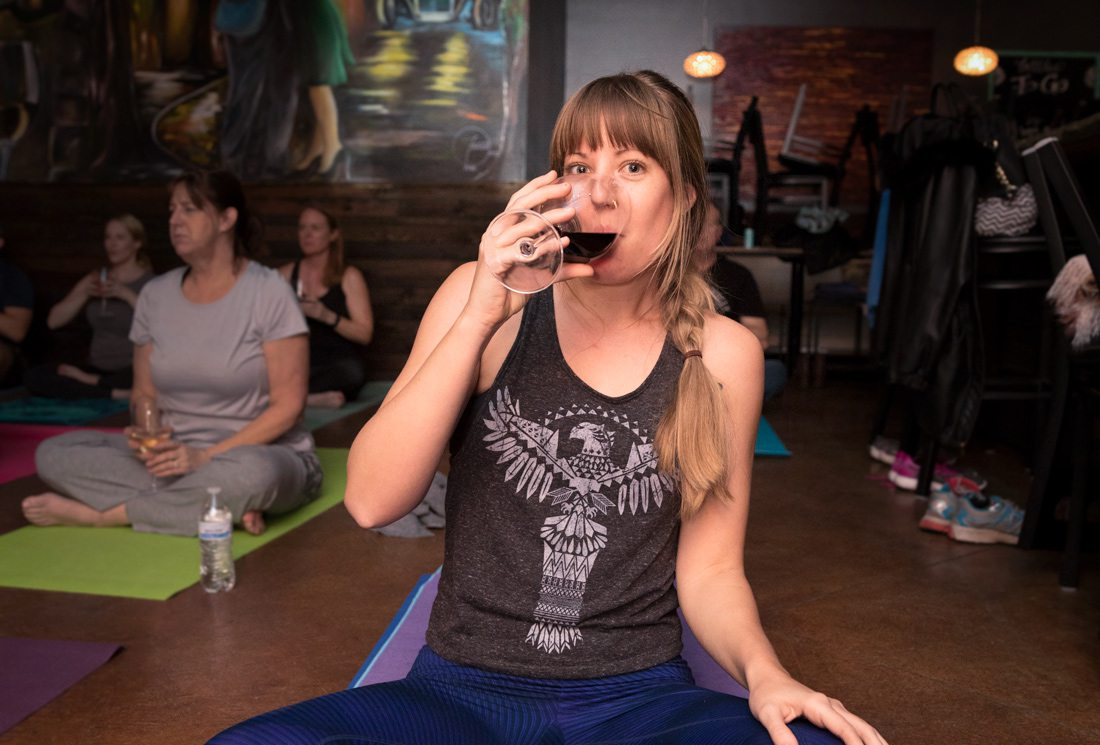 drinking wine while doing yoga in springfield mo