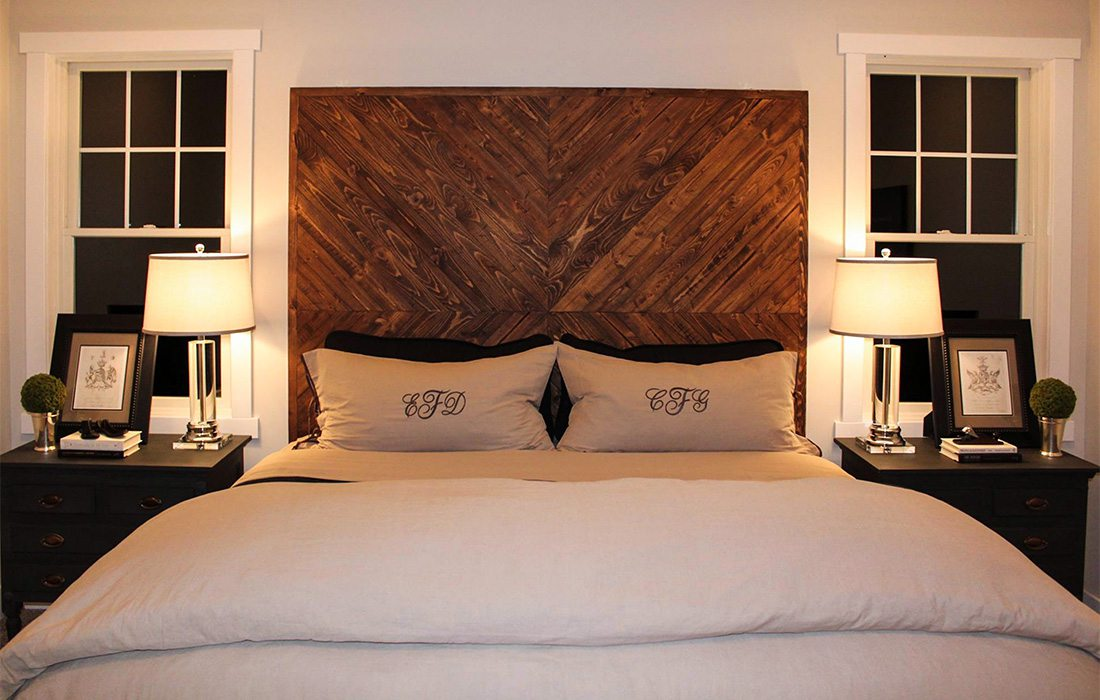 wooden headboard in a farmhouse