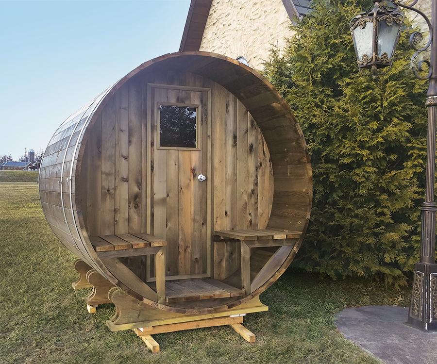 Bon Backyard Sauna Photo Courtesy Alpine Wood ProductsSaunas From Alpine Wood  Products Have A Wine Barrel Shape, Which Circulates Heat Evenly Thanks To  An ...